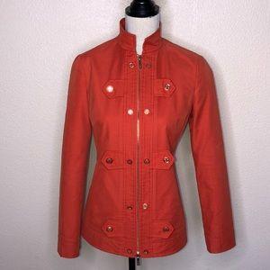TORY BURCH Orange Mandarin Collar  Zip Up Jacket